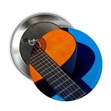 "Guitar and its plectrum on a blue tab 2.25"" Button"