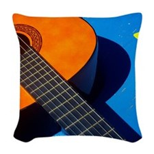 Guitar and its plectrum on a b Woven Throw Pillow