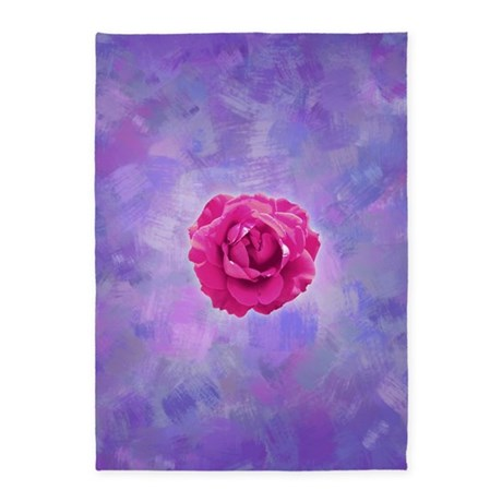 Cerise rose on pink and purple canv 5'x7'Area Rug