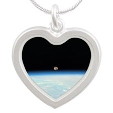 Moon Over the Earth Silver Heart Necklace