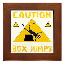 CAUTION BOX JUMPS - BLACK Framed Tile