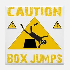 CAUTION BOX JUMPS - BLACK Tile Coaster