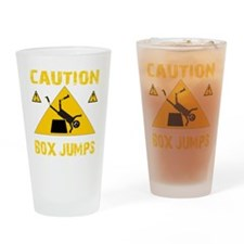 CAUTION BOX JUMPS - BLACK Drinking Glass