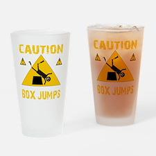 CAUTION BOX JUMPS - BLACK Drinking Glass
