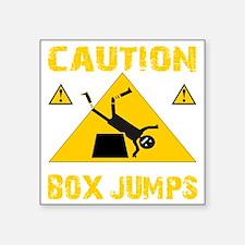 "CAUTION BOX JUMPS - BLACK Square Sticker 3"" x 3"""