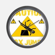 CAUTION BOX JUMPS - BLACK Wall Clock