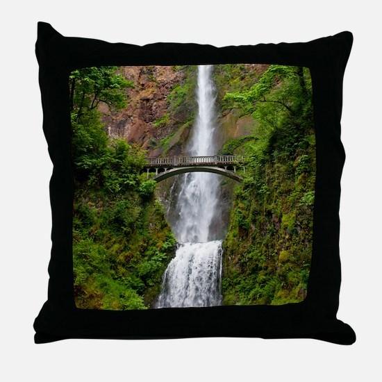 Multnomah Waterfall at Oregon. Columb Throw Pillow