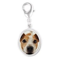 Jack Russell Terrier Silver Oval Charm