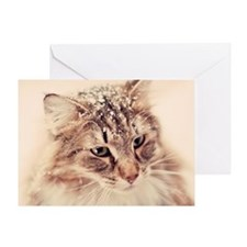 Norwegian Forest Cat enjoying the sn Greeting Card