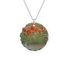 Orange flowers in white pitc Necklace