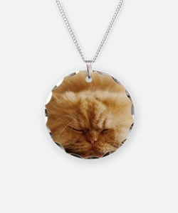 Persian cat sleeping on floo Necklace