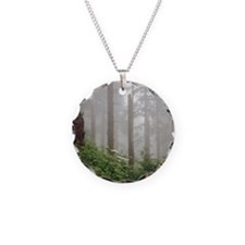 Misty woods in forest. Necklace