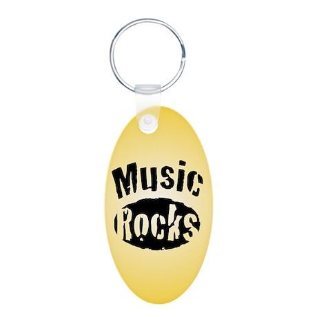Music Rocks Aluminum Oval Keychain