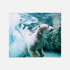 Polar bear underwater. Throw Blanket