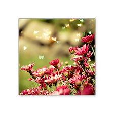 """Pink flower in garden. Square Sticker 3"""" x 3"""""""