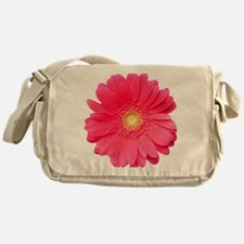 Pink gerbera daisy isolated on white Messenger Bag