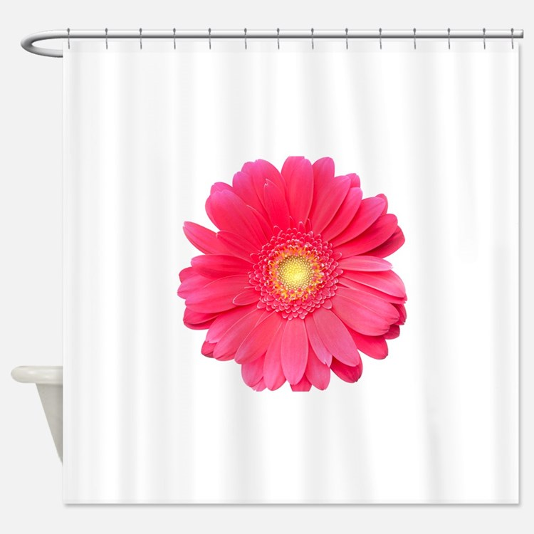 Pink gerbera daisy isolated on whit Shower Curtain