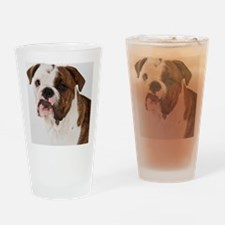 Portrait of cute bulldog pup Drinking Glass