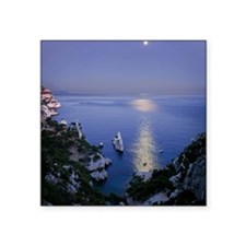 "Night view over calanque of Square Sticker 3"" x 3"""