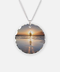 Man walking on beach at suns Necklace
