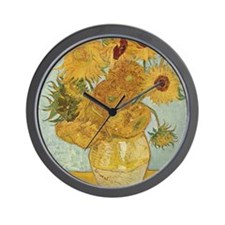 Vincent Van Gogh Vase With 12 Sunflower Wall Clock