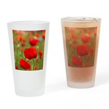 Red poppies in cornfield, France Drinking Glass