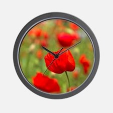 Red poppies in cornfield, France Wall Clock