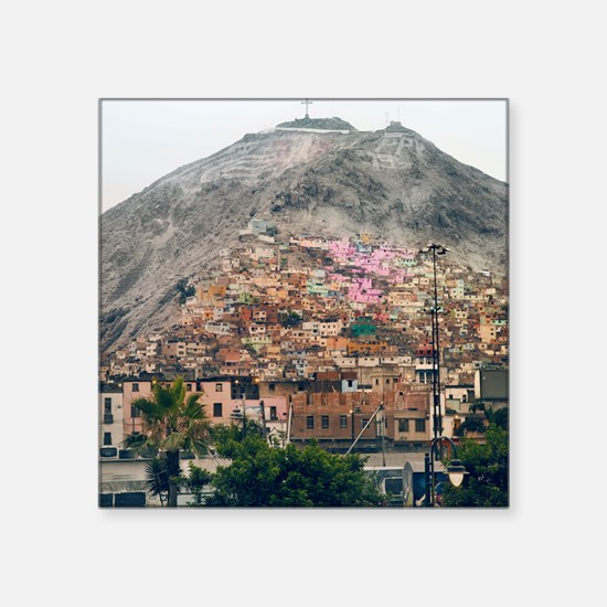 "San Cristobal Hill in Lima. Square Sticker 3"" x 3"""