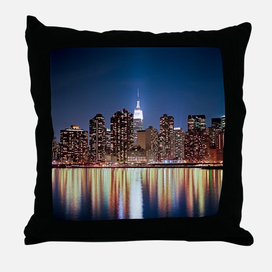 Reflection of skyline at night, New Y Throw Pillow