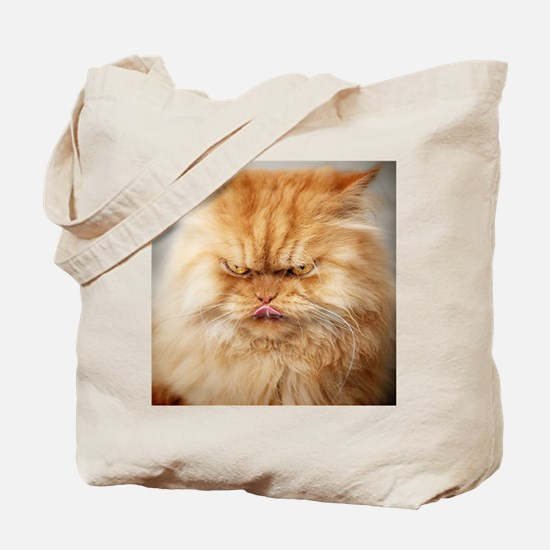 Persian cat looking angrily into camera a Tote Bag