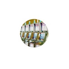 Row of Slot Machines Mini Button