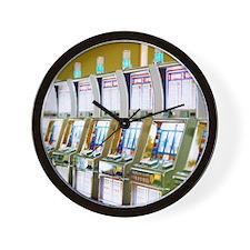 Row of Slot Machines Wall Clock