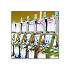 "Row of Slot Machines Square Sticker 3"" x 3"""