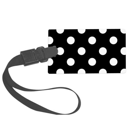 Black and White Polka Dots Large Luggage Tag