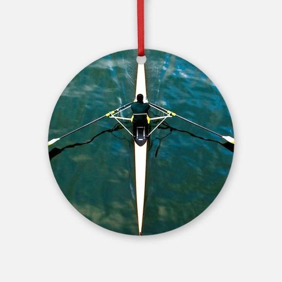 Scull man square river Seine reflec Round Ornament