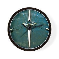 Scull man square river Seine reflection Wall Clock