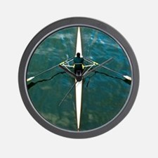 Scull man square river Seine reflection Wall Clock