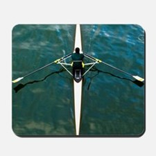 Scull man square river Seine reflections Mousepad