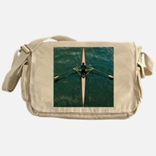 Scull man square river Seine reflect Messenger Bag