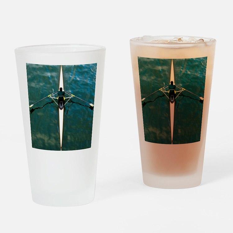 Scull man square river Seine reflec Drinking Glass