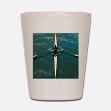 Scull man square river Seine reflection Shot Glass