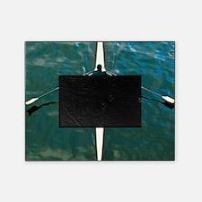 Scull man square river Seine reflect Picture Frame