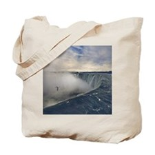 Seagull flying over misty Horseshoe Falls Tote Bag