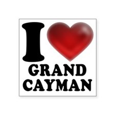 "I Heart Grand Cayman Square Sticker 3"" x 3"""