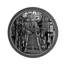 Street with electric cables in Yushima, Wall Clock
