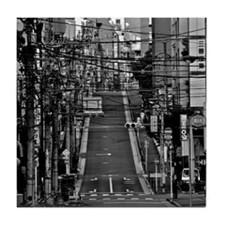 Street with electric cables in Yushim Tile Coaster