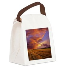 Sunset on recently cut field. Canvas Lunch Bag