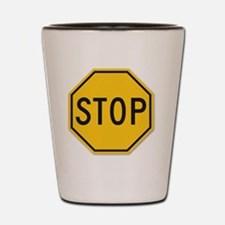 yellow stop sign Shot Glass