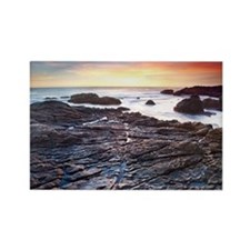 Sunset on a rocky California beac Rectangle Magnet