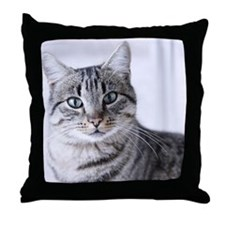 Tabby gray cat and green eyes. Throw Pillow